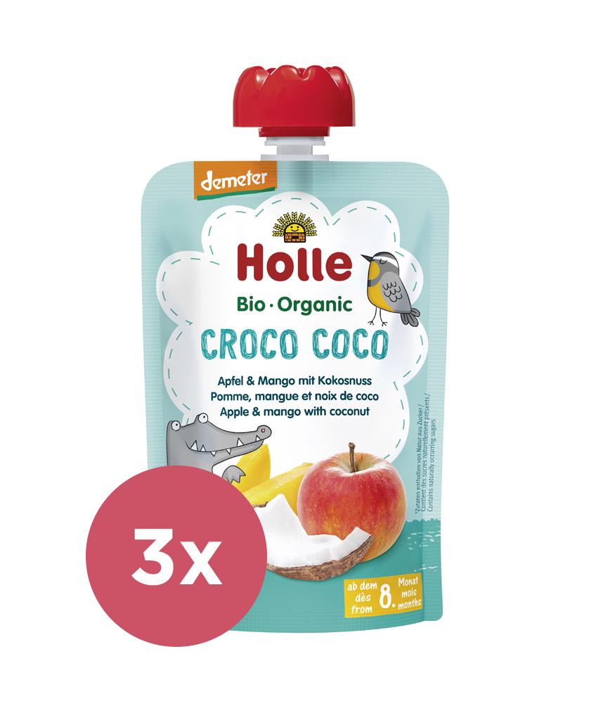 3x HOLLE Croco Coco Bio ovocné pyré jablko, mango, kokos, 100 g (8 m+)
