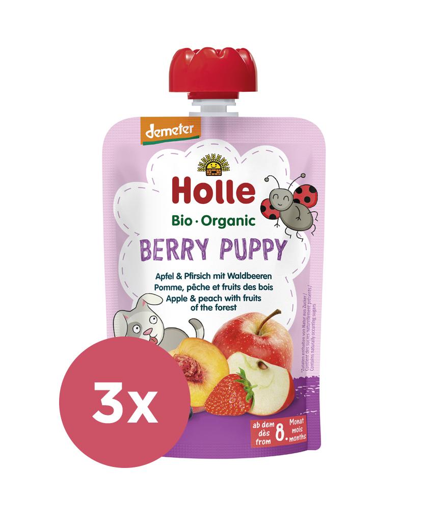3x HOLLE Berry Puppy Bio ovocné pyré jablko, broskyňa a lesné plody, 100 g (6 m+)