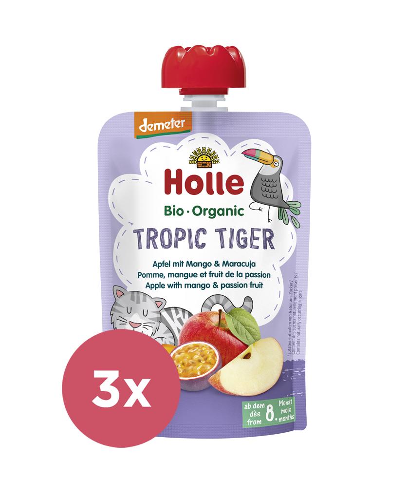 3x HOLLE Tropic Tiger Bio ovocné pyré jablko, mango a maracuja, 100 g (8 m+)