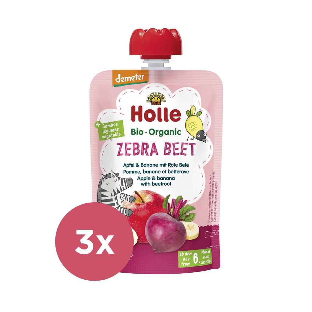 3x HOLLE Zebra Beet Bio ovocné pyré jablko, banán a červená repa, 100 g (6 m+)