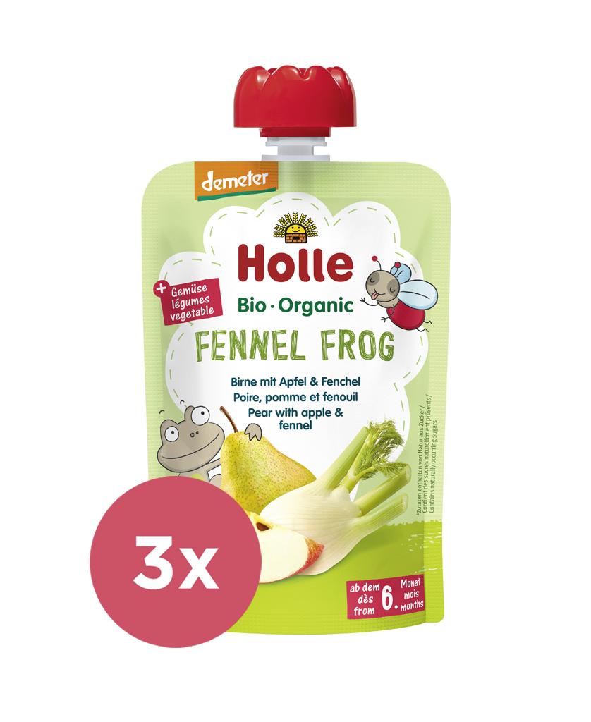 3x HOLLE Fennel Frog Bio pyré hruška, jablko, fenikel, 100 g (6 m+)