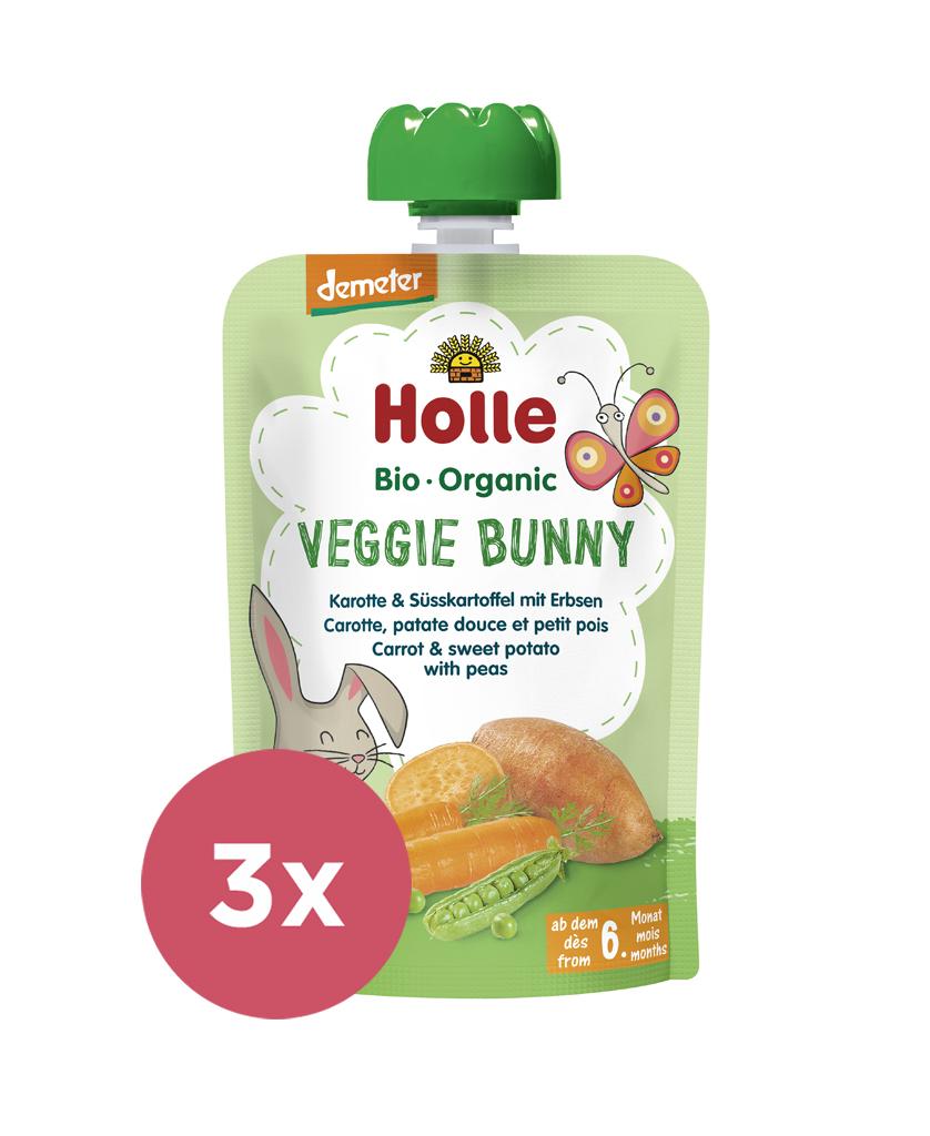 3x HOLLE Veggie Bunny Bio pyré mrkva, sladké zemiaky a hrášok, 100 g (6 m+)