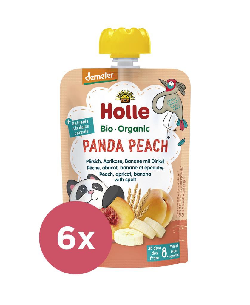 6x HOLLE Panda Peach Bio pyré broskyňa marhuľa banán špalda 100 g (8+)