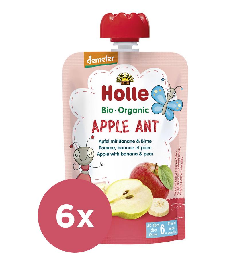 6x HOLLE Apple Ant Bio pyré jablko banán hruška 100 g (6+)