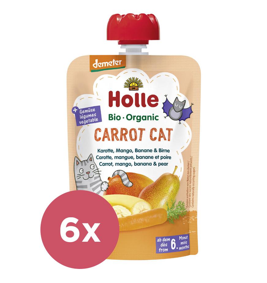 6x HOLLE Carrot Cat Bio pyré mrkva mango banán hruška 100 g (6+)