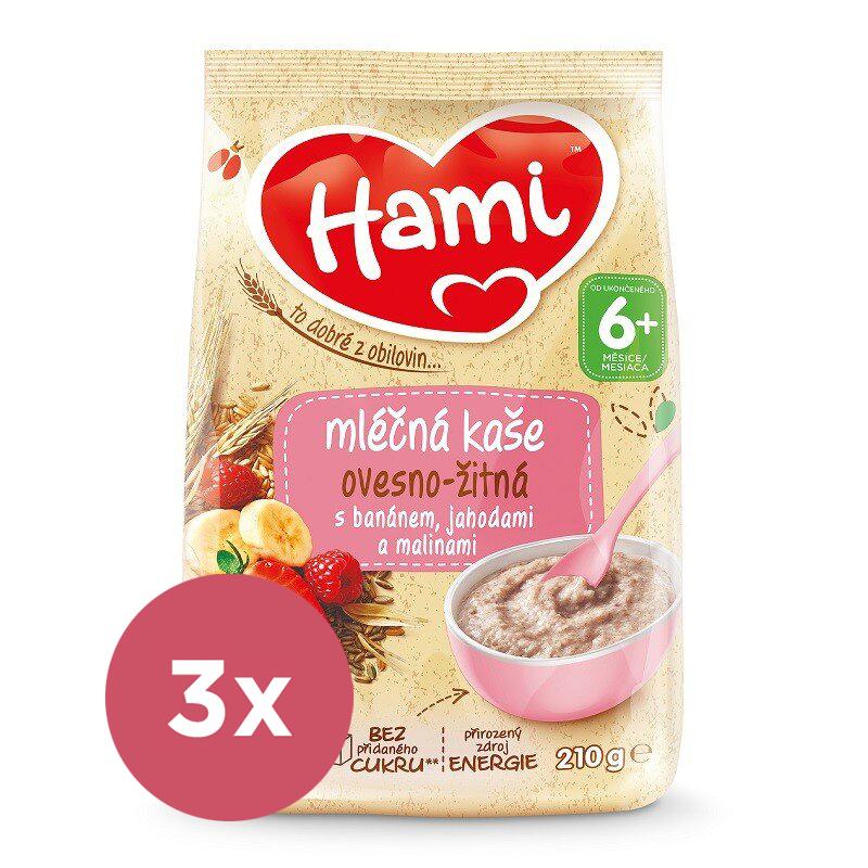 3x HAMI Kaša mliečna ovseno-ražná s banánom, jahodami a malinami 210 g, 6+