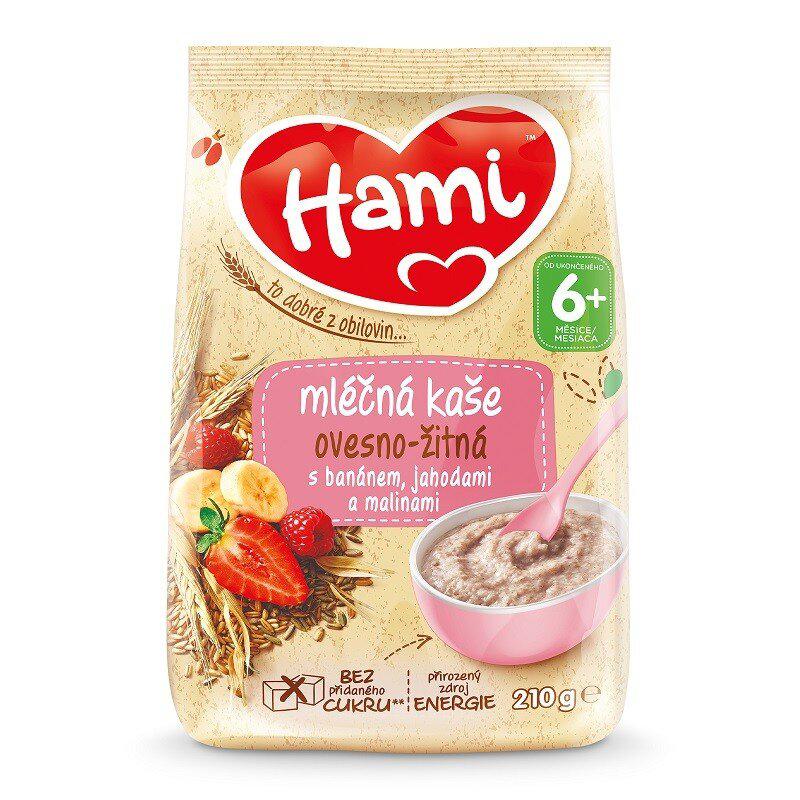 7x HAMI Kaša mliečna ovseno-ražná s banánom, jahodami a malinami 210 g, 6+