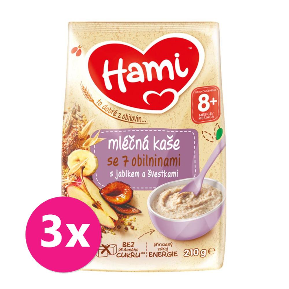 3x HAMI Kaša mliečna so 7 obilninami s jablkom a slivkami 210 g, 8+