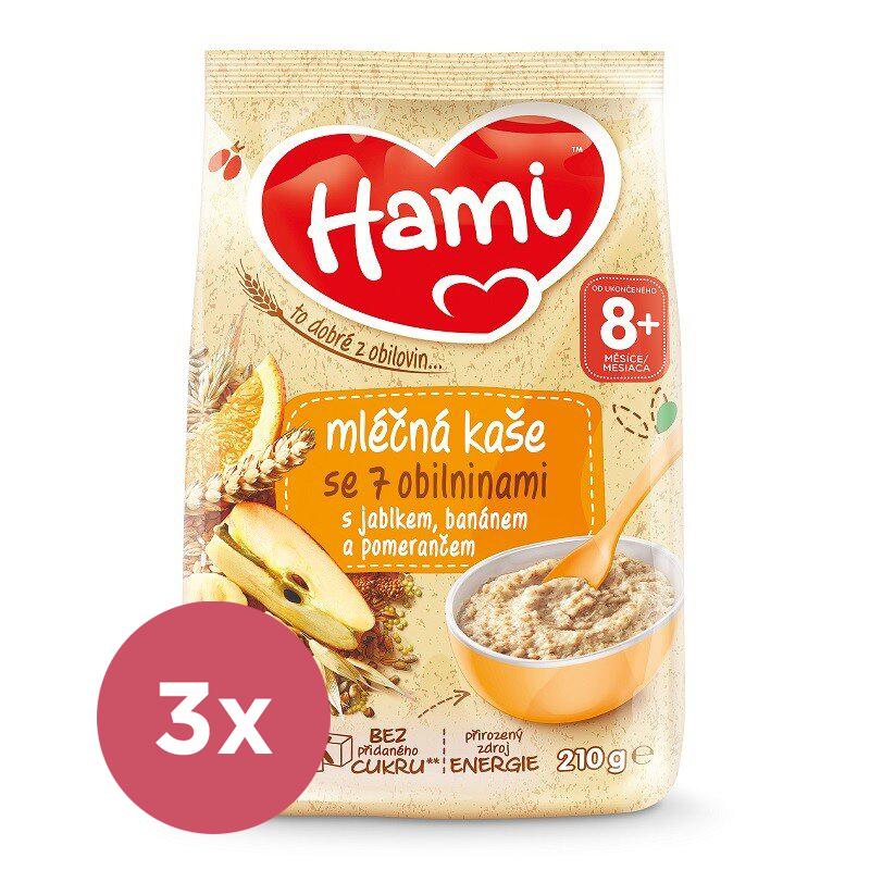 3x HAMI Kaša mliečna so 7 obilninami s jablkom, banánom a pomarančom 210 g, 8+