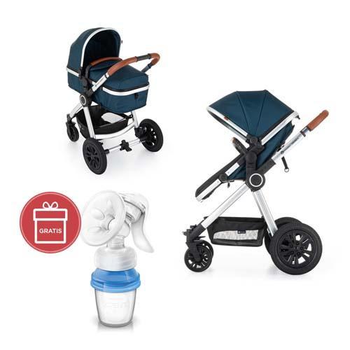 Kočík kombinovaný 3v1 Grand II Platinum Indigo Petite&Mars + Avent odsávačka mater.mlieka
