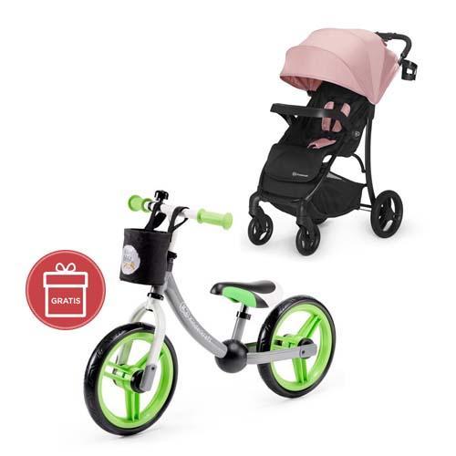 Kočík športový Cruiser pink Kinderkraft + Odrážadlo 2way Next Green/Gray