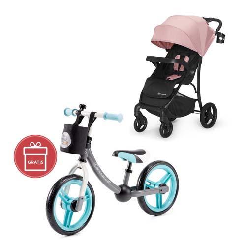 Kočík športový Cruiser pink Kinderkraft + Odrážadlo 2way Next Turquoise/Gray