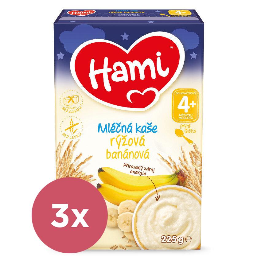 3x HAMI Kaša mliečna ryžová banánová na dobrú noc  225g