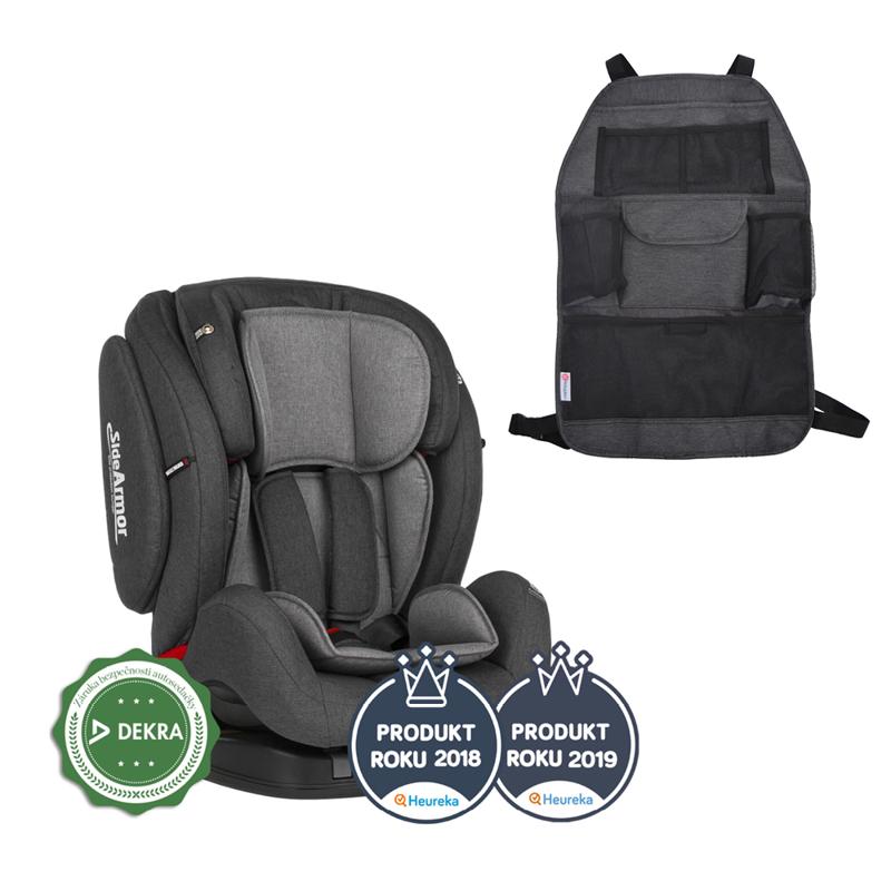 PETITE&MARS Autosedačka Prime II (9-36 kg) - Isofix Grey + organizér na sedadlo Order