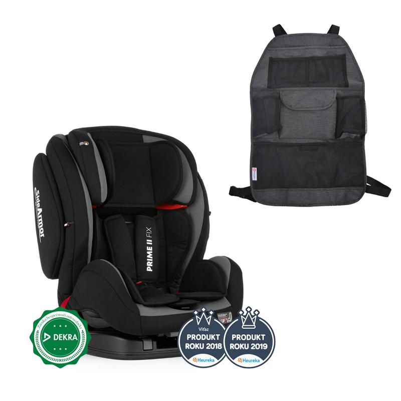 PETITE&MARS Autosedačka Prime II Isofix Black (9-36 kg) + organizér na sedadlo Order