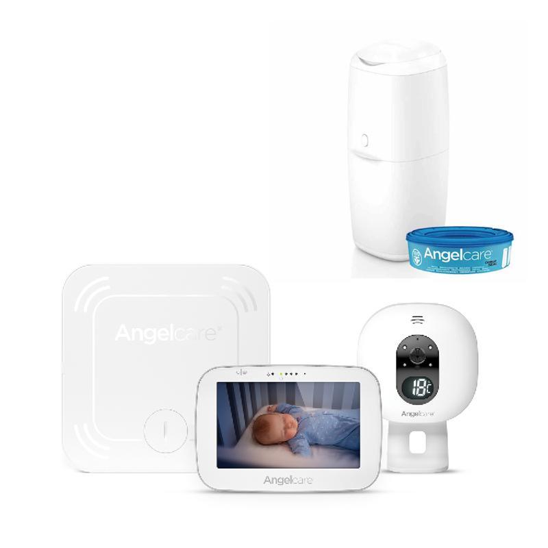 ANGELCARE AC527 Monitor pohybu dychu a el. video pestúnka + kôš na plienky Classic + 1 kazeta