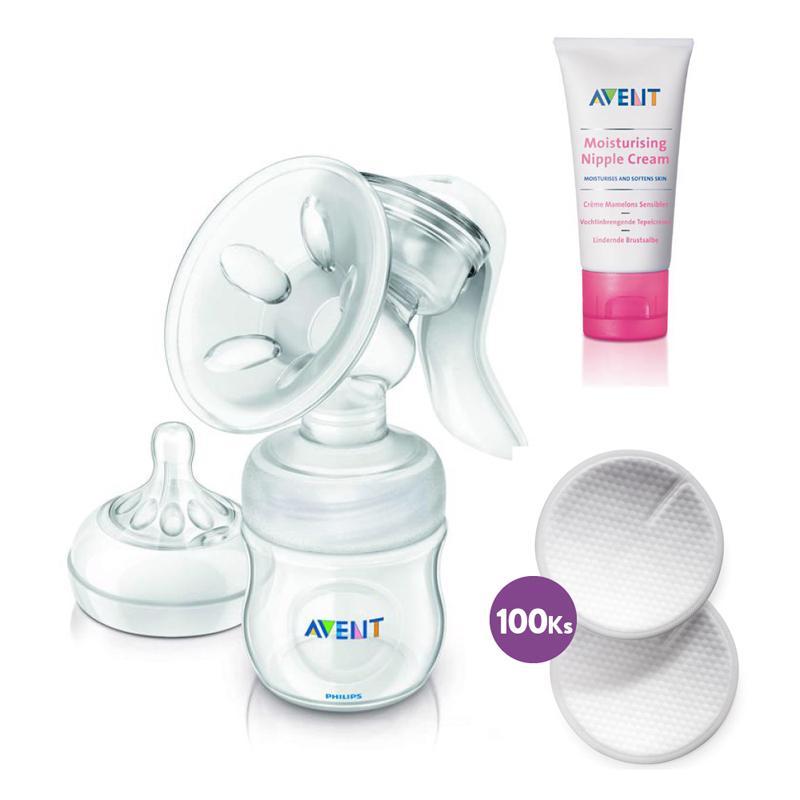 Philips AVENT Odsávačka mlieka Natural + prsné vložky 100 ks + krém na bradavky