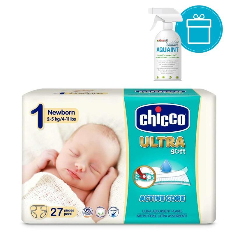 CHICCO Plienky jednorázové Ultra Newborn 2-5kg, 27 ks + AQUAINT 500 ml