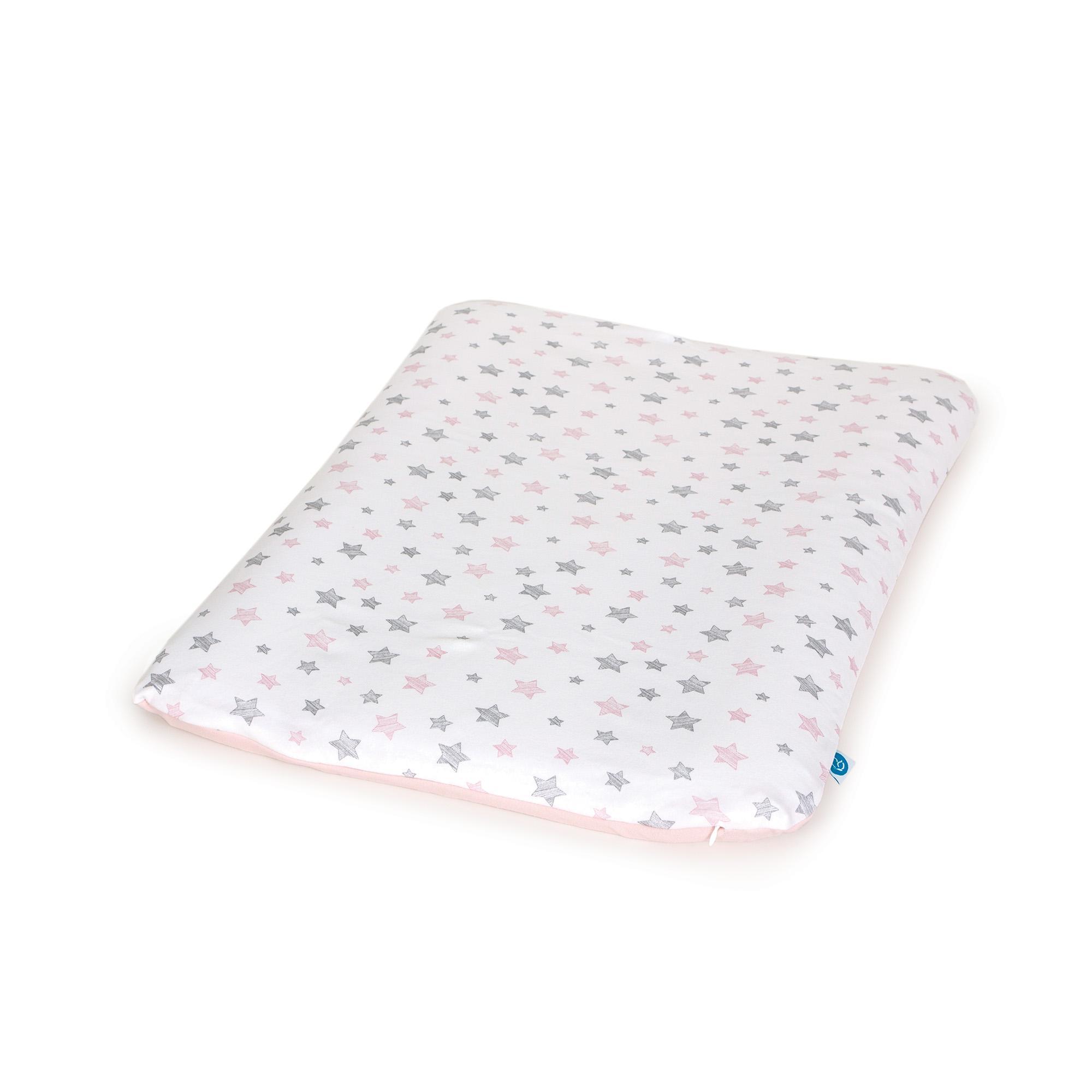CEBA Potah na měkkou přebalovací podložku 50 x 70 Grey Stars + Pink Stars 2ks