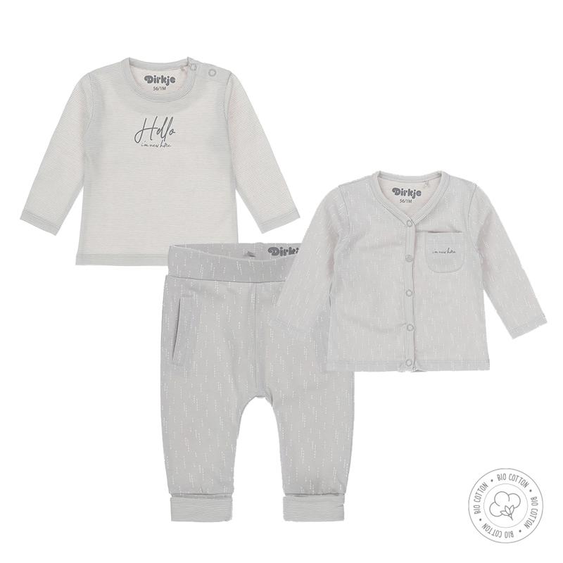 DIRKJE Set 3.d mikina + tričko + nohavice BIO bavlna Biely neutrál 56