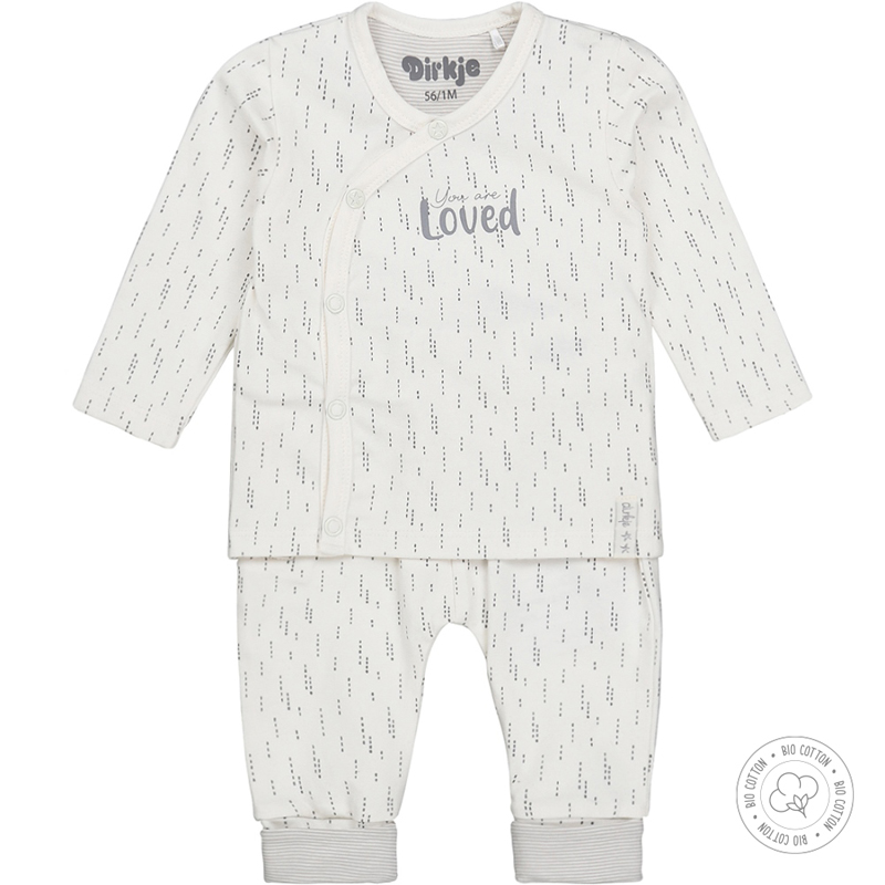 DIRKJE Set 2.d tričko dl. rukáv + nohavice BIO bavlna Biely neutrál 56