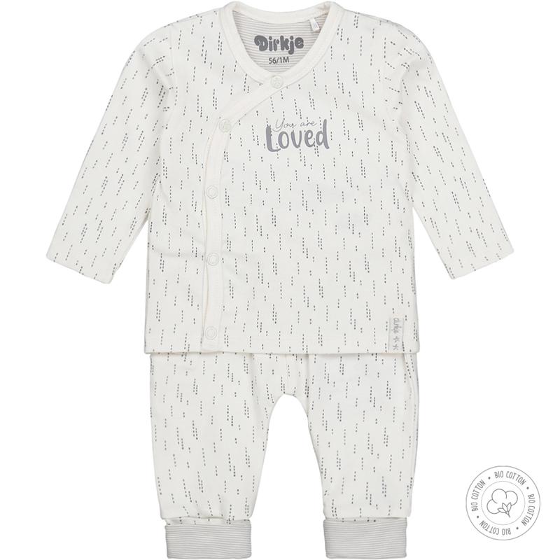 DIRKJE Set 2.d tričko dl. rukáv + nohavice BIO bavlna Biely neutrál 62