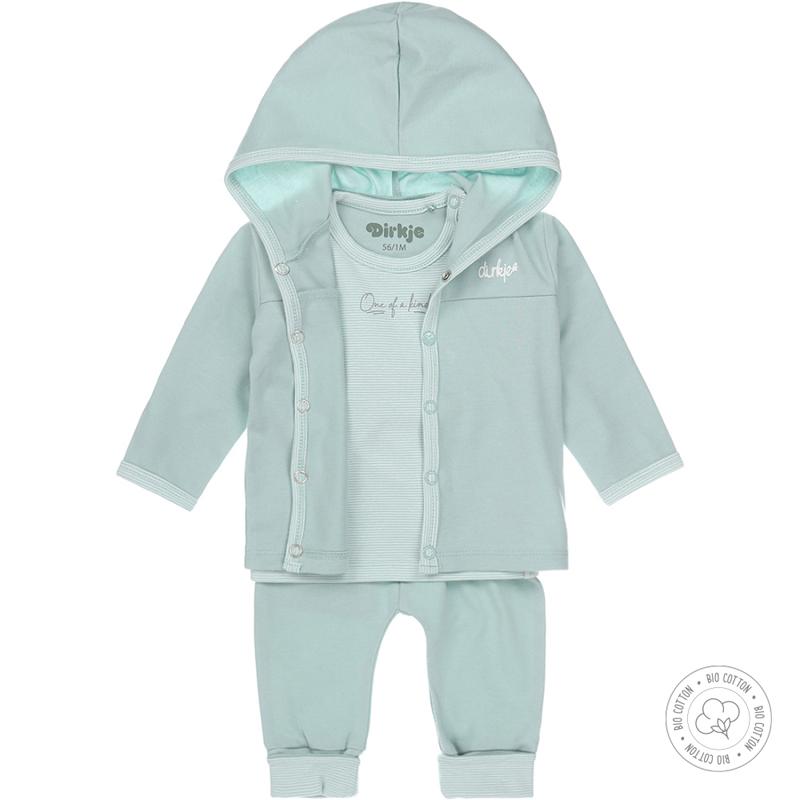 DIRKJE Set 3.d mikina + tričko + nohavice BIO bavlna Modrý neutrál 56